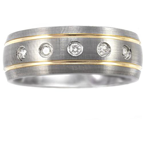 Men's .15 Carat T.W. Diamond Ring in Yellow and Gray Tungsten, 8mm