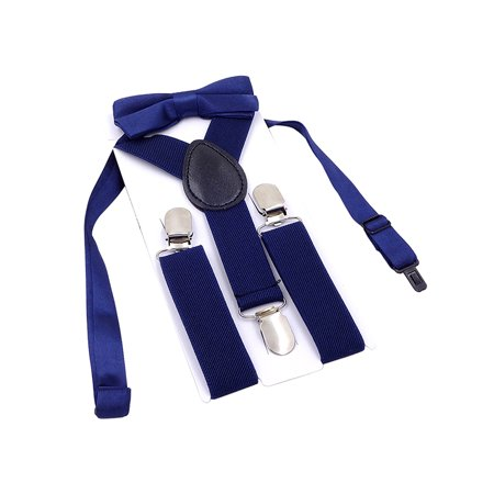Ties And Suspenders (Boys Suspender Metal Clip Y Back Adjustable Elastic Suspenders Bow Tie Set for)