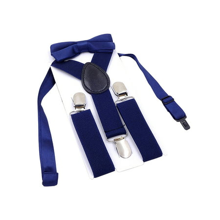 Boys Suspender Metal Clip Y Back Adjustable Elastic Suspenders Bow Tie Set for Kids - Rainbow Bow Tie