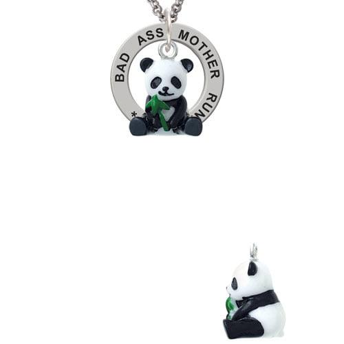 Resin Panda Bear Bad Ass Mother Runner Affirmation Ring Necklace