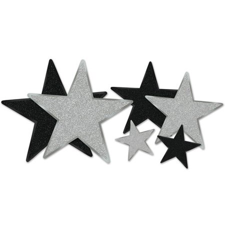 The Party Aisle 6 Piece Award Night Glittered Foil Star Cutouts Wall D cor (Foil Star Cutouts)