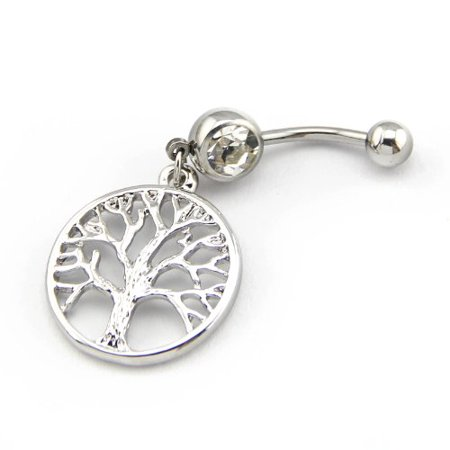 Cat Dangle Belly Button Ring - Generic 316L Surgical Steel 14G Clear Crystal Silver Color Tree of Life Dangle Navel Ring Belly Bar Button