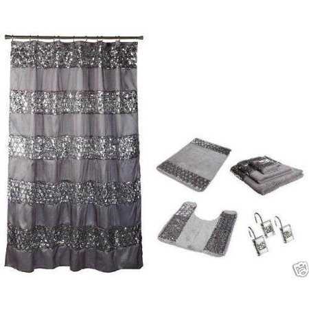 Popular Bath Sinatra Silver 7 Piece Set Includes Shower Curtain Resin Hooks 2 Rugs And Towel