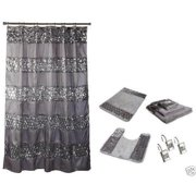 Popular Bath Sinatra Silver 7 Piece Set Includes Shower Curtain Resin Hooks