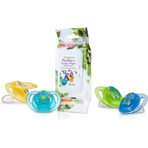 Nuby 4-Pack Natural Touch Comfort Orthodontic Pacifier with Massaging Baglet, Birth to 6 Months, Boy, BPA-Free