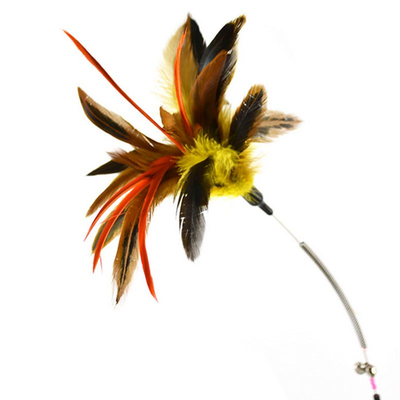 Jeobest Feather Wand with Bell Cat Toy