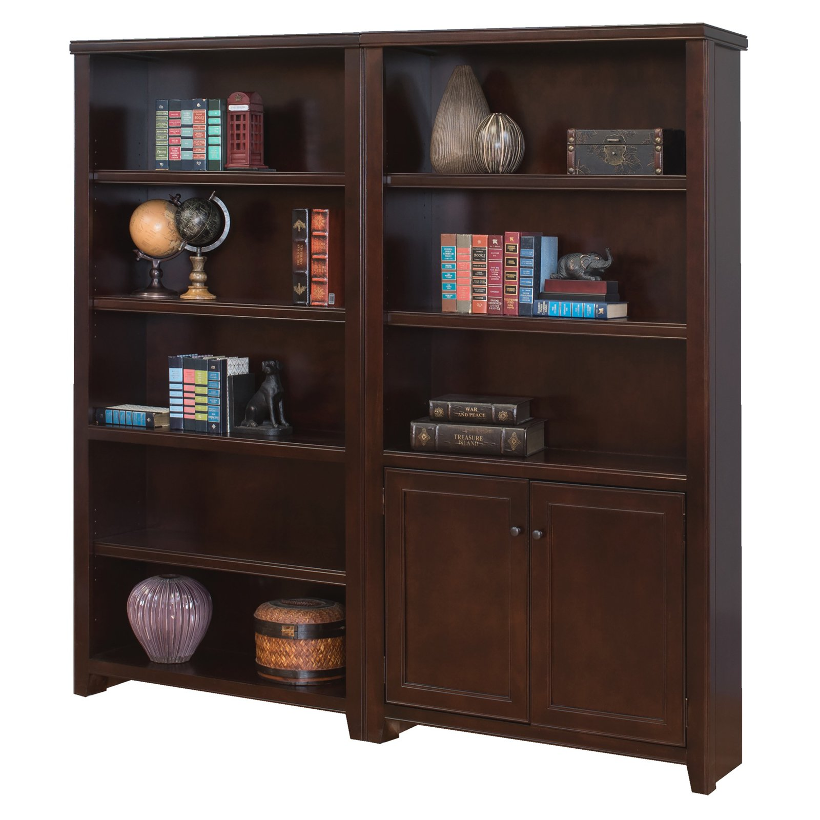 Martin Furniture Tribeca Loft Wood Wall Bookcase with 2 Doors - Cherry
