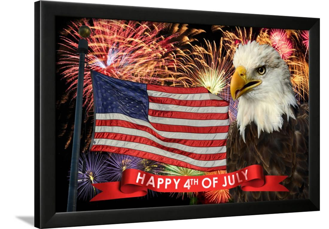 031c645d1 Fireworks display during fourth of july with american flag and bald eagle  framed print wall art