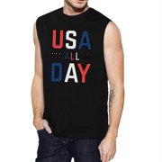 USA All Day Mens Black Sleeveless Muscle Tee Unique Workout Tanks