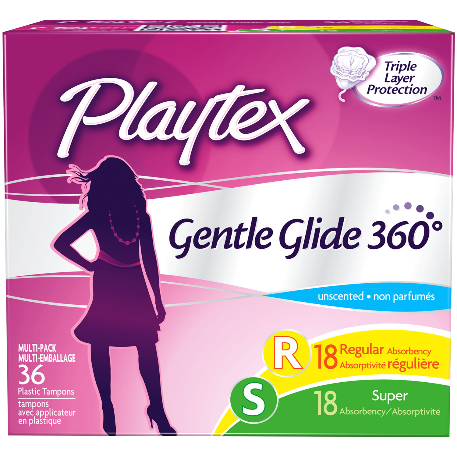 Playtex Gentle Glide Tampons Unscented Multi-Pack 18 Regular Absorbency And 18 Super Absorbency - 36 Count