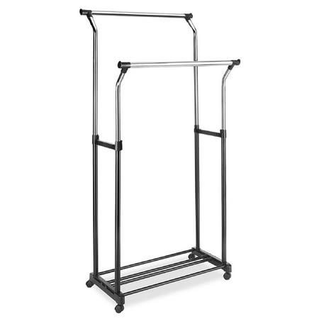 Whitmor Double Adjustable Garment Rack Black / Chrome