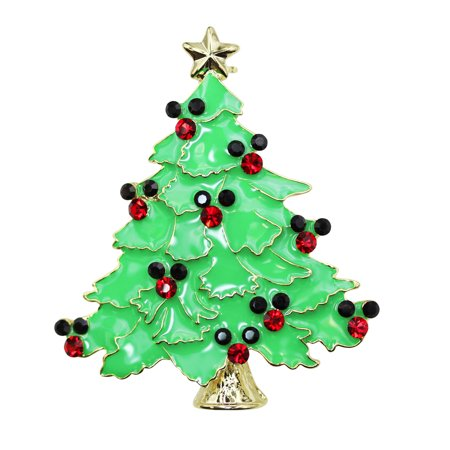 Faship Mickey Mouse Christmas Tree Pin Brooch Red black Rhinestone crystal