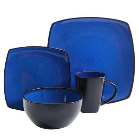 Gibson Elite Soho Lounge 16-Piece Soft Square Dinnerware Set in Blue