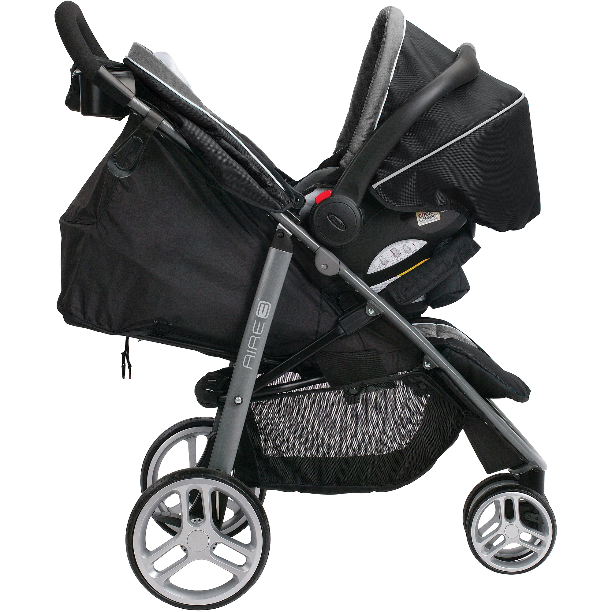 Graco Aire3 Click Connect 3-Wheel Stroller Travel System, Gotham ...