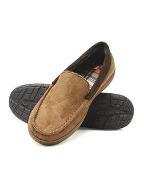Hanes Men's Moccasin Slipper House Shoe With Indoor Outdoor