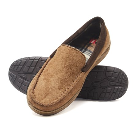 Hanes Men's  Moccasin Slipper House Shoe With  Indoor Outdoor Memory Foam Sole Fresh IQ Odor - Shoe House Charm