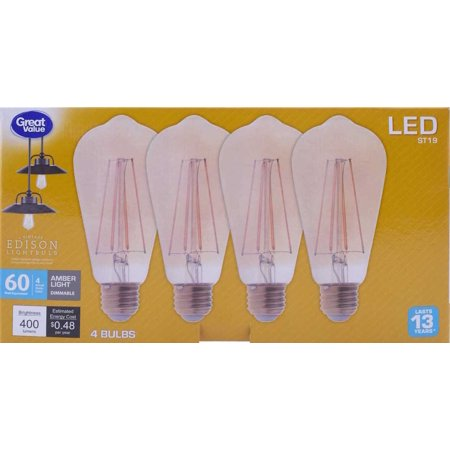 Great Value Vintage Edison LED Light Bulb, 4W (60W Equivalent), Amber Light, Dimmable, 4 Count