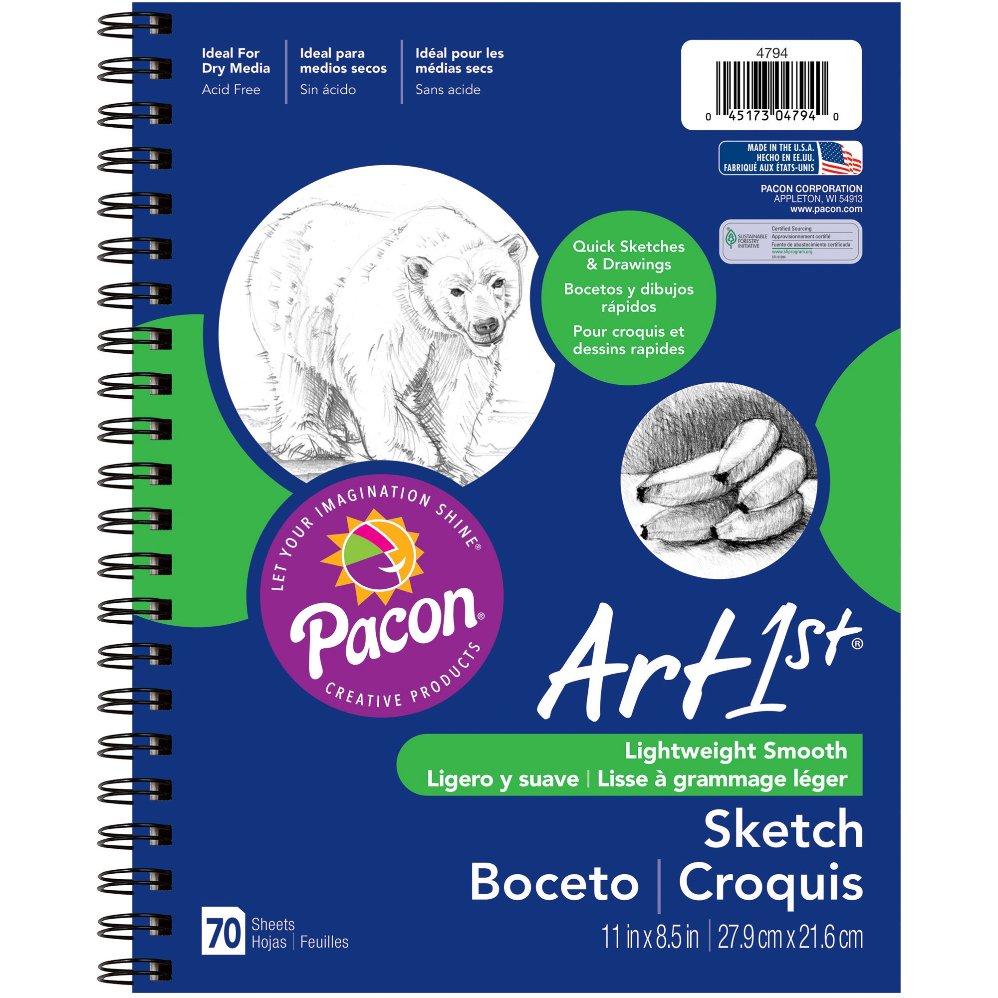 Art1st Sketch Diary, White Drawing Paper, 70 Sheets, 8.5 x 11 in.