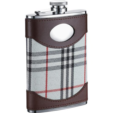 Visol  Tobias Leather & White Plaid Liquor Flask - 8 ounces Broncos Hip Flask