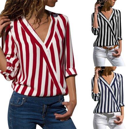 Fashion Diagonal Stripe (Women's Fashion Casual Stripe Print V Neck Tops Long Sleeve Plus Size Slim Fit Irregular T Shirt)