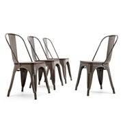 BELLEZE Modern Metal Stackable Bistro Dining Chairs Set of 4 Wood Seat Cafe Bar Restaurant Stool, Bronze