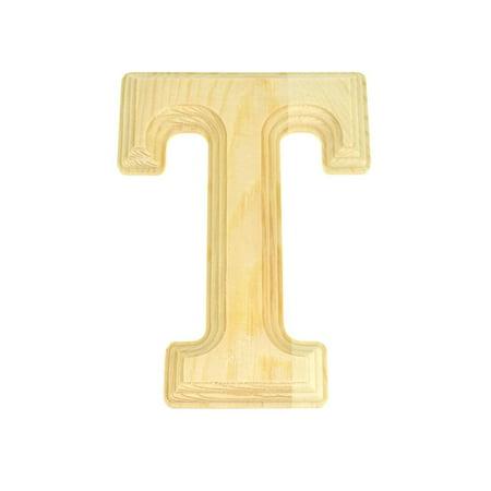 Pine Wood Beveled Wooden Letter T, Natural, 6-Inch