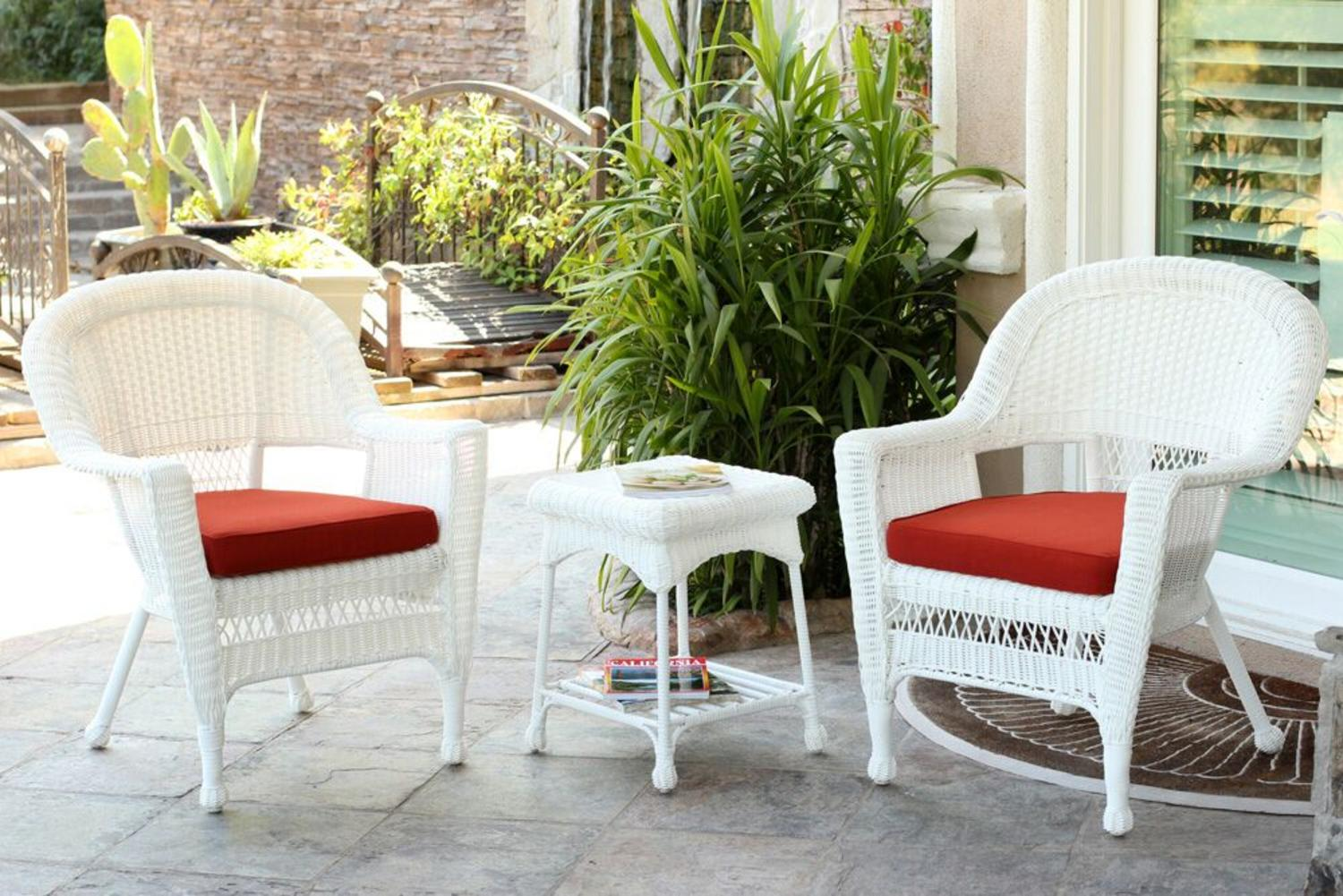 3 Piece White Resin Wicker Patio Chairs And End Table Furniture Set   Red  Cushions