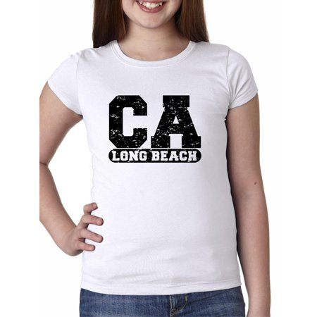 Long Beach, California CA Classic City State Sign Girl's Cotton Youth T-Shirt