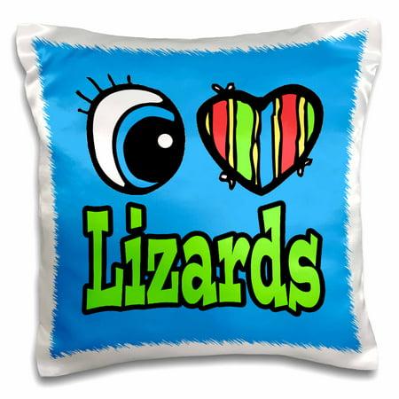 3dRose Bright Eye Heart I Love Lizards, Pillow Case, 16 by 16-inch