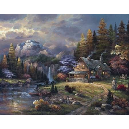 James Lee Mountain Hideaway - Mountain Hideaway Stretched Canvas - James Lee (11 x 14)