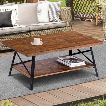 GranRest 46'' Cocktail Table Solid Wood, Steel Coffee Table with Shelf, Rustic Brown (Dark Brown Cocktail Table)