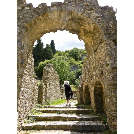 Halloween Cemetery Archway Entrance (Canvas Print Entrance Path Arch Steps Archway Doorway Walkway Stretched Canvas 10 x)