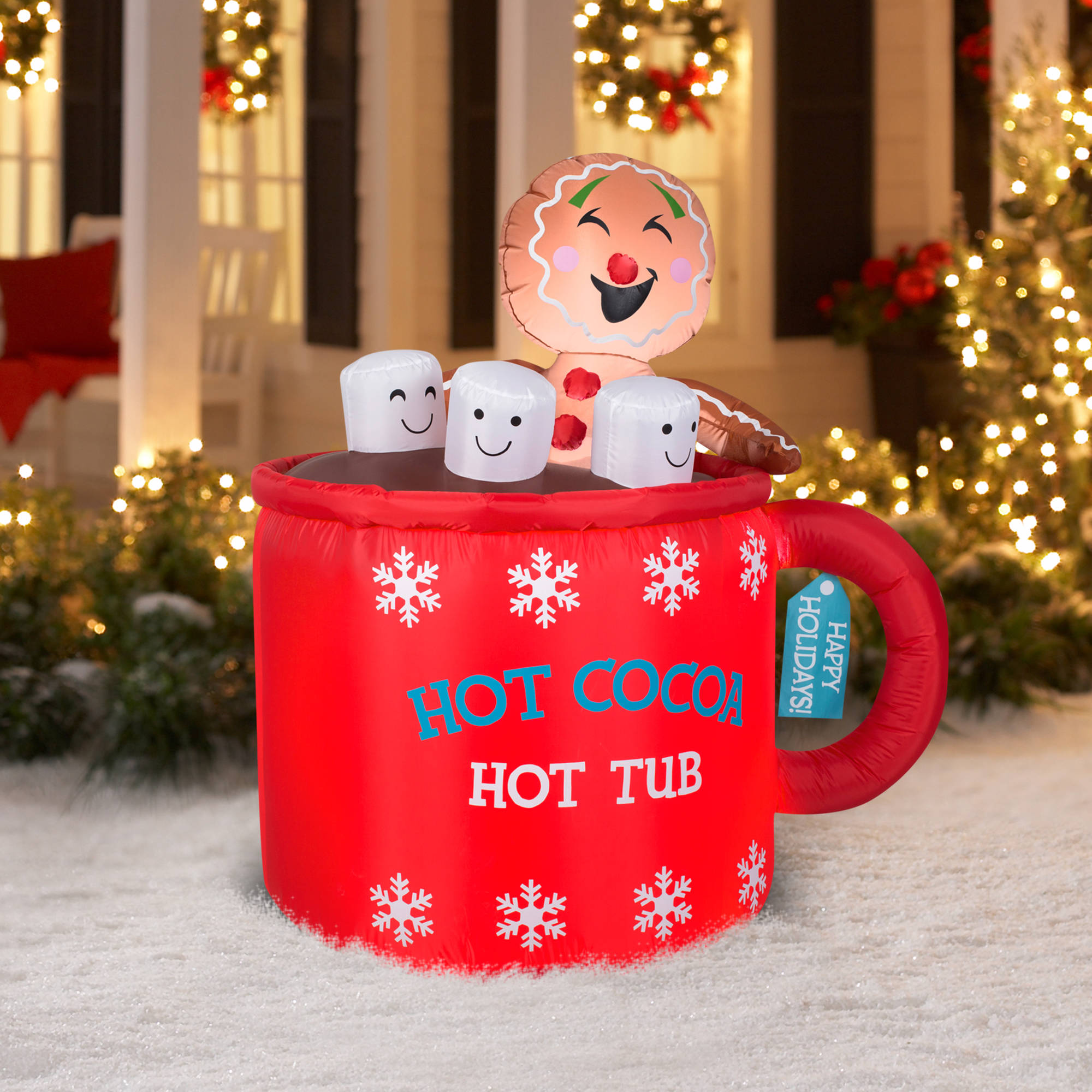 gemmy airblown christmas inflatables 46 gingerbread in mug of cocoa scene walmartcom - Walmart Inflatable Christmas Decorations