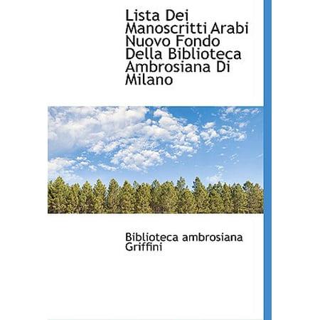 Lista Dei Manoscritti Arabi Nuovo Fondo Della Biblioteca Ambrosiana Di Milano