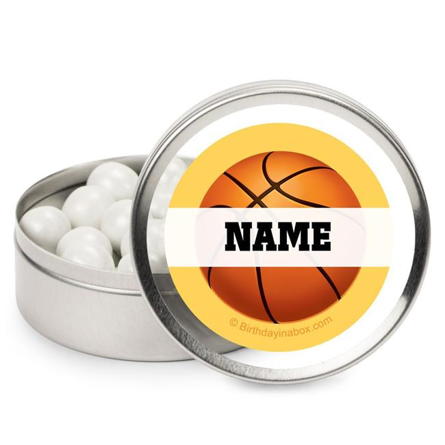 Costume Supercenter BB101536MT Basketball Party Personalized Candy Tins - Pack of 12