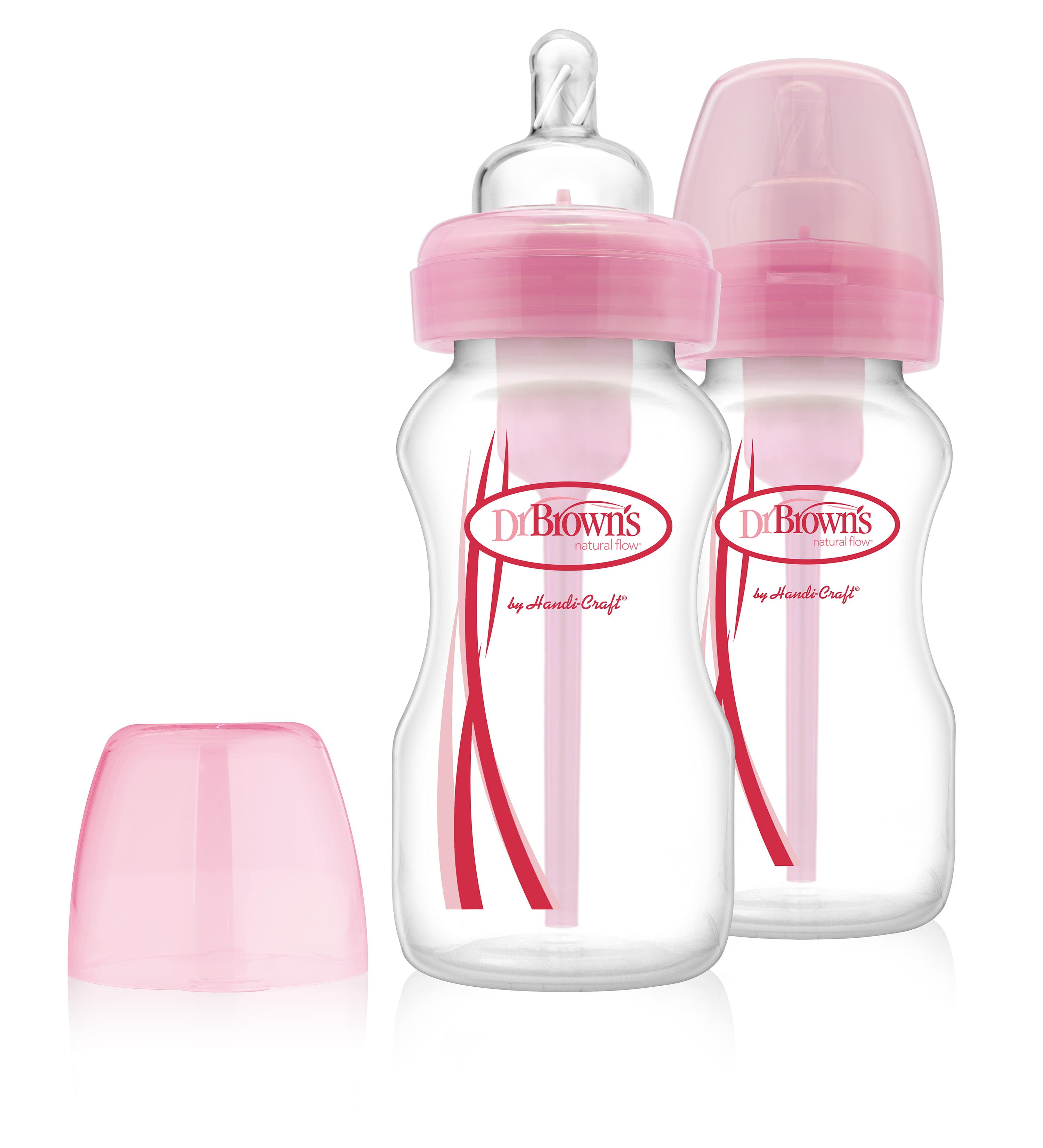 Dr. Brown's Options Wide-Neck Bottle - 9oz, Pink, 2 Ct