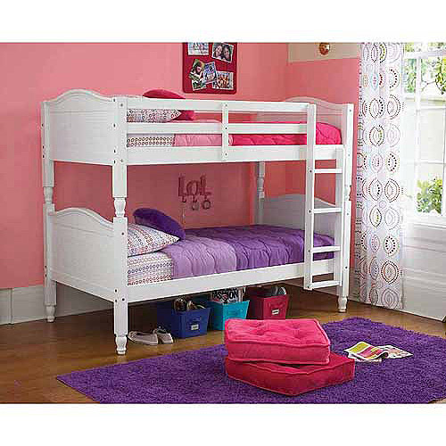 Kylie Twin Over Twin White Bunk Bed With Optional Mattresses