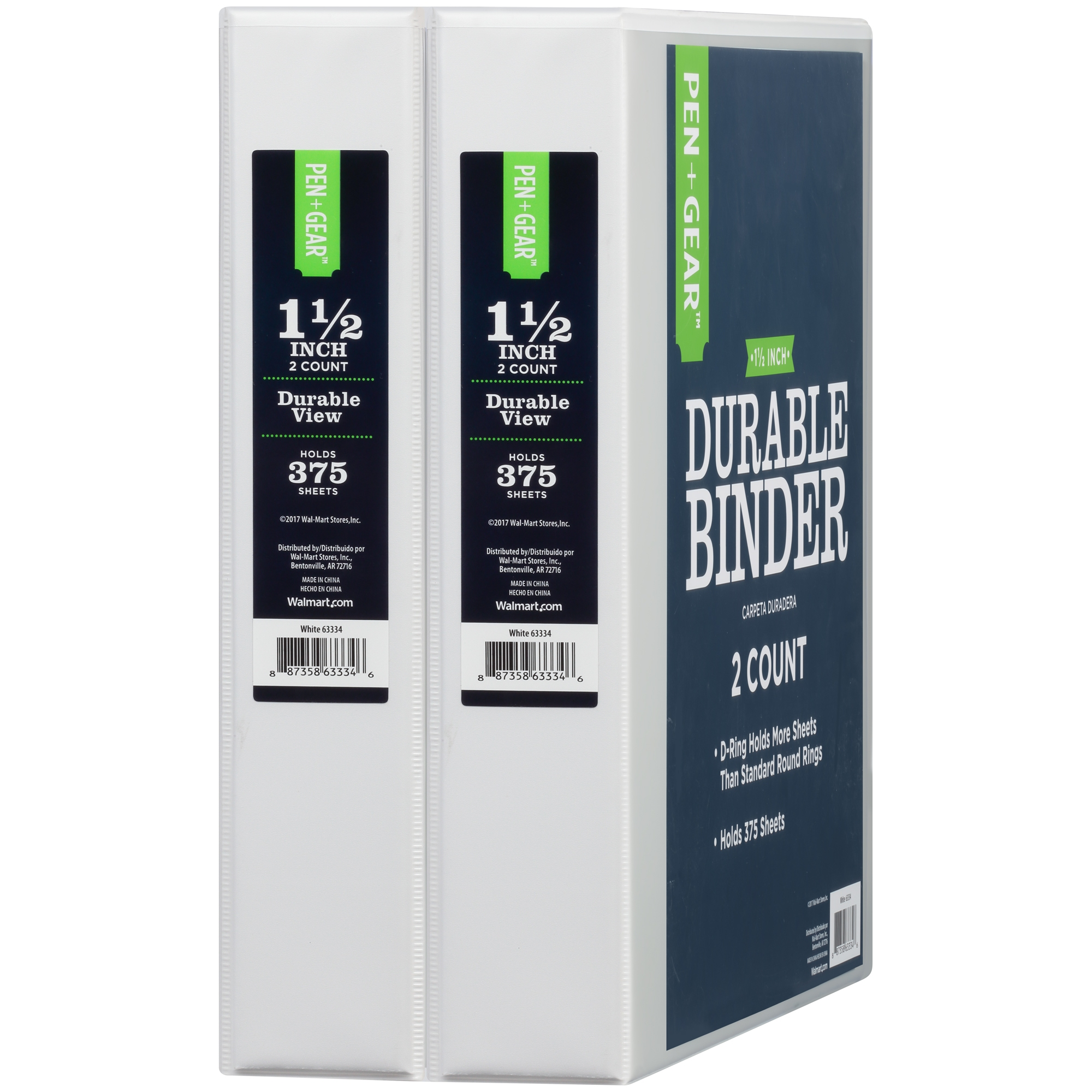 Pen + Gear 1.5-inch Durable View Binder, D Rings, White, 2-pack by Generic