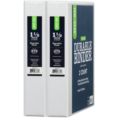 pen gear 1 5 inch durable view binder d rings white 2 pack