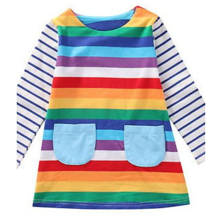 StylesILove Lovely Girl Rainbow Stripe Long Sleeve Cotton Dress (90/12-18 Months)