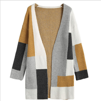 e06c910dd4329b 2018 Women Winter Baggy Cardigan Coat Colorblock Long Chunky Knitted  Oversized Sweater