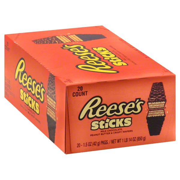 Reeses Sticks Peanut Butter and Crispy Wafer Bars, 1.5 Oz, 20 Ea