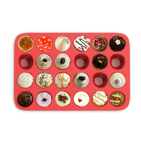 Mini Muffin Pan- Silicone Nonstick Cupcake/Muffin/Brownie Reusable Baking Tray- Microwave, Oven, Freezer, and Dishwasher Safe (24 Cups) by Chef