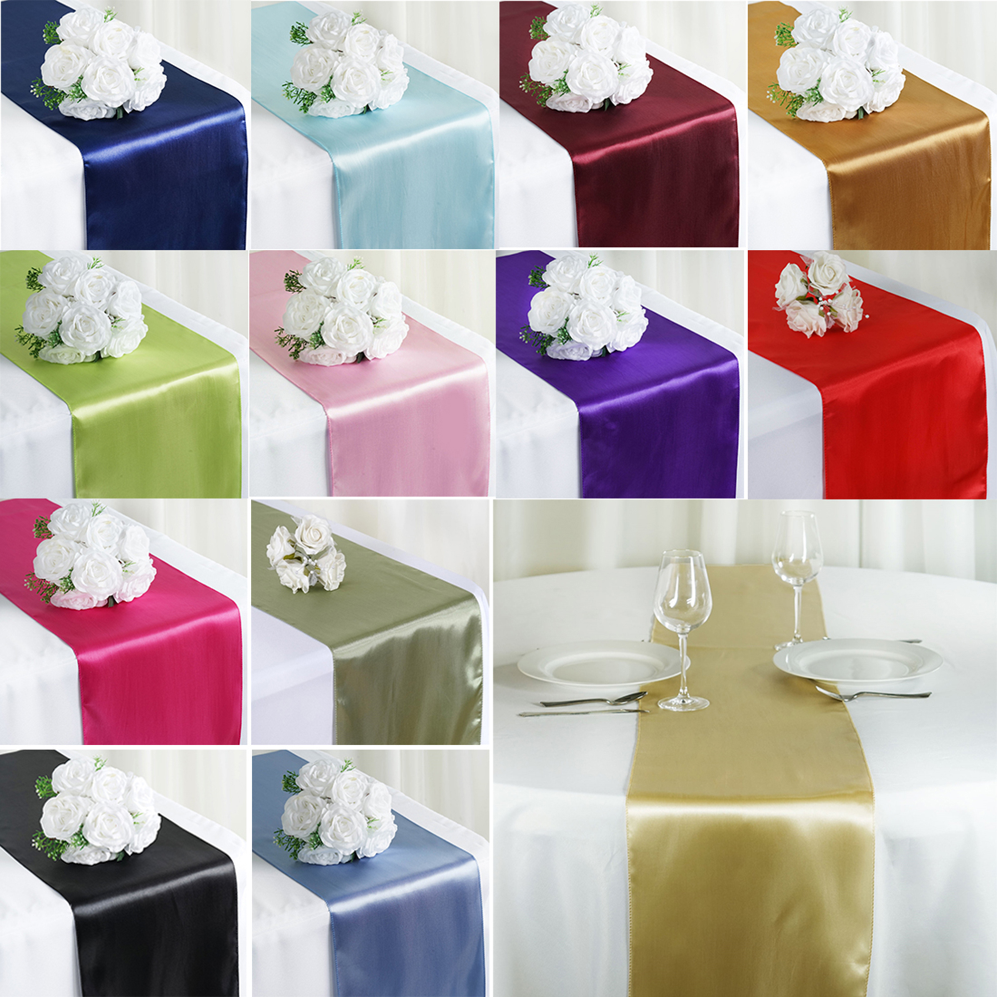 Evening Wedding Reception Decoration Ideas: CUH Satin Table Runner Wedding Party Reception Banquet