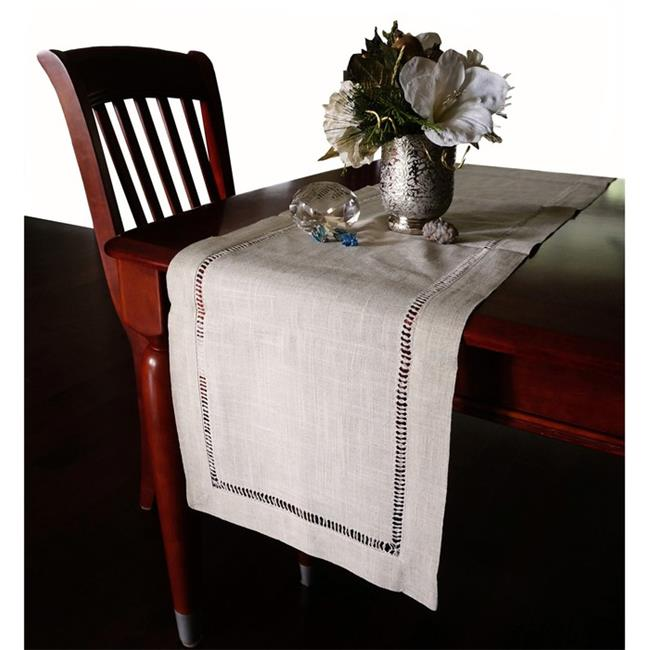 Harvest HD002R Beautiful Hemstitched Table Runner Quality Natural Tablecloth 90 inch Long