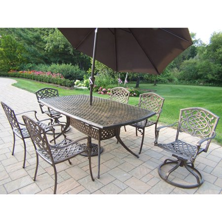 patio dining set with swivel chairs and tilting umbrella with stand
