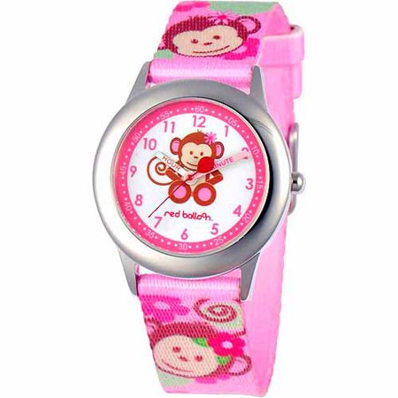 Pretty Girl Monkey Stainless Steel Watch, Pink Strap