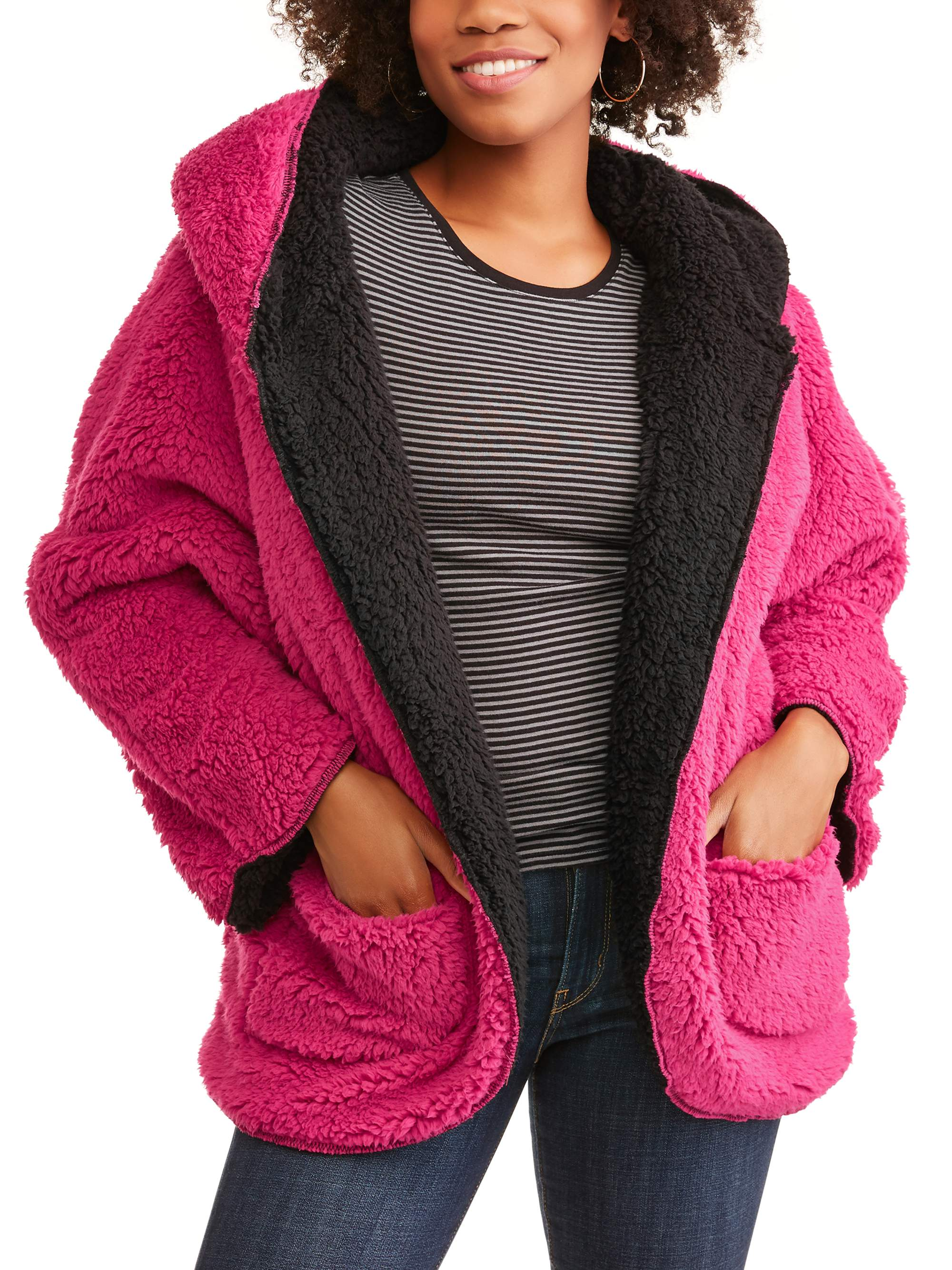 Women's Reversible Hooded Fluffy Fleece Wrap