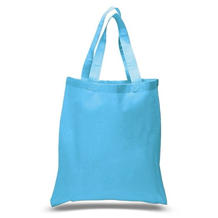 Set of 6 Blank Cotton Tote Bags Reusable 100% Cotton Reusable Tote - Blue Jeweled Handbag