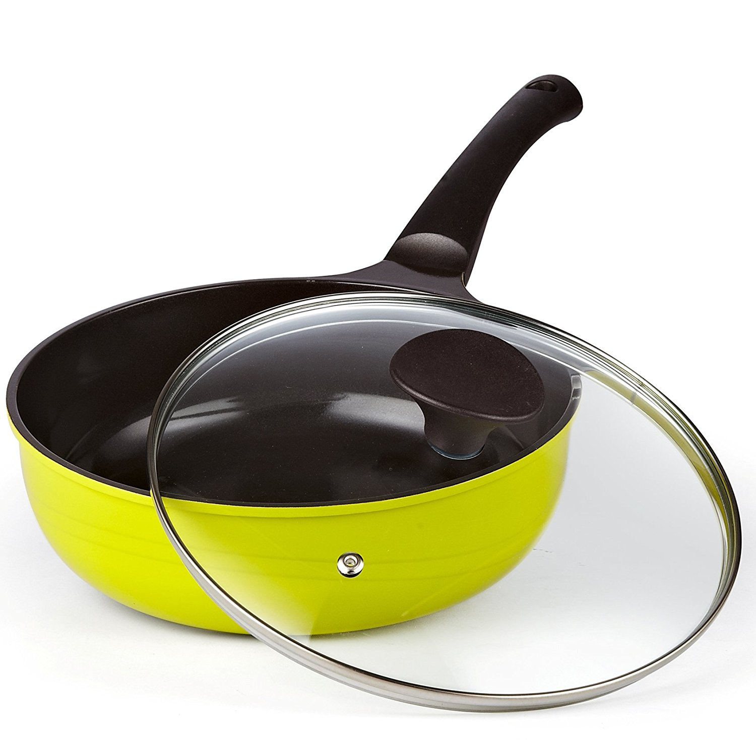 Cook N Home 3 Qt/9.5 in. Nonstick Ceramic Coating Saute Stir Fry Pan with Lid, Green